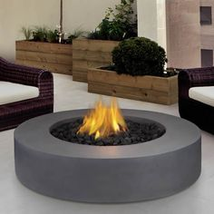 Round Flint Gray Propane Gas Fire Pit, At The Home Depot   Tablet