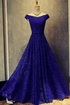 Charming Prom Dress, Sexy Royal Blue Lace Prom