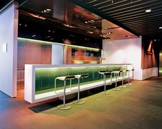 Decorations:Modern Minimalist Hotel Bar Design Ideas With Unique Bar Stools And Recessed Ceiling Lamp Creative ways to design your bar interior Home Bar Counter, Bar Counter Design, Modern Home Bar Designs, Modern Bar, Modern Decor, Modern Design, Küchen Design, House Design, Design Ideas