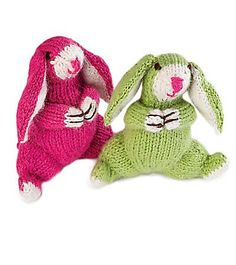 Floppy Eared 4 Inch Knitted Bunny Handmade in Peru. Lol, I can picture one of these, dragged around by the ear, for years, loved to the point of falling apart...