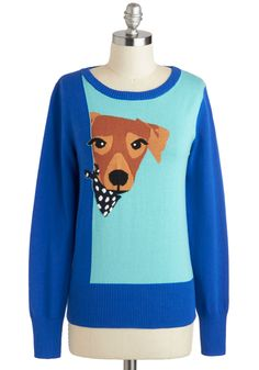 You Lucky Dog Sweater by Louche - Print with Animals, Blue, Brown, Casual, Quirky, Long Sleeve