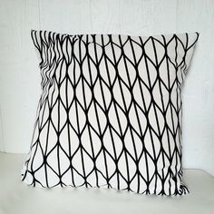 Black and white pillow cover  Cotton throw cushion by TitikaShop