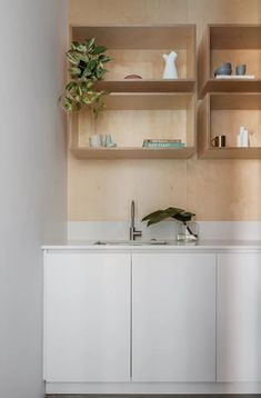 floating plywood box shelves Interior Designers Sydney, Interior Design Studio, Preston, Loft Style, Minimalist Kitchen, Design Projects, Interior Architecture, Modern Design, Home And Family