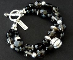 Smoky Quartz & Onyx 2-Strand Bracelet with Sterling Silver Beads and Findings