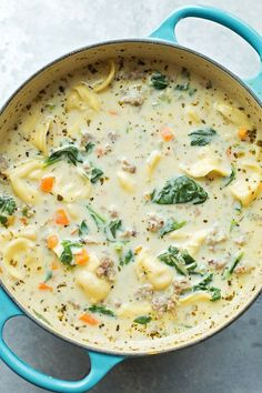 Creamy Sausage and Tortellini Soup . Creamy sausage and tortellini soup is a bowl full of comfort! It's loaded with veggies, sausage and cheese tortellini- plus Sausage And Kale Soup, Italian Sausage Soup, Cheese Tortellini Soup, Cheese Soup, Creamy Soup Recipes, Cream Of Potato Soup, Slow Cooker Huhn, Pasta, Le Diner