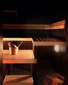 Sauna - dark colors and warm atmosphere - Our studio designed the interior and manufactured the sauna furniture in this U-shaped sauna. Modern Saunas, Sauna Design, Sauna Room, Bench Designs, Traditional Decor, Dark Colors, Sauna Ideas, Koti, Warm