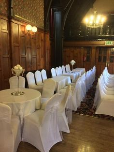 Venue Dressing- White organza sashes on white chair covers, creates a fresh, bright and elegant look at any venue.