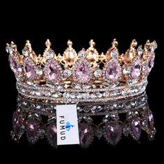 뜨거운 판매 새로운 패션 우아한 핑크 크리스탈 신부 크라운 클래식 골드 왕관 여성 웨딩 헤어 쥬얼리 액세서리