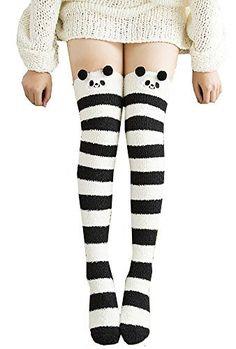 c1e4a481915 Girl s Leg Warmers Soft Warm Animal Coral Fleece Thigh High Long Striped  Socks  fashion