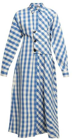 New Jil Sander Genziana gingham cotton shirtdress. Womens Dresses from top store Modest Fashion, Hijab Fashion, Fashion Dresses, Cotton Shirt Dress, Long Shirt Dress, Jil Sander, Vetement Fashion, Blue And White Dress, African Print Fashion