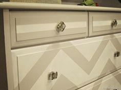 DIY Chevron Dresser add interest while keeping it neutral Diy Furniture Projects, Upcycled Furniture, Furniture Makeover, Diy Projects, Decorating Tips, Decorating Your Home, Interior Decorating, Interior Design, Chevron Dresser
