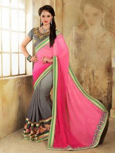 Pink and Grey Georgette Saree with Lace Work