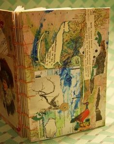 beautiful collaged journal cover from craftster