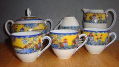 VINTAGE CZECHOSLOVAKIA PORCELAIN DEMITASSE COFFEE SET CHINESE YELLOW BLUE MOTIFF