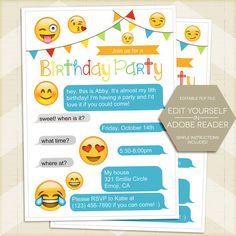 Emoji Birthday Party Invitation, Smilie Invite 5x7 - digital printable editable PDF Edit yourself in Adobe Reader, smiley, for girl