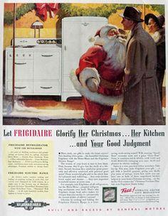 1938 Frigidaire Range & Fridge Ad ~ Santa