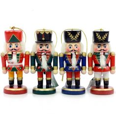 WOODEN NUTCRACKER ORNAMENT SET OF 4 - Christmas Ornament - List price: $48.40 Price: $5.49 Saving: $42.91 (89%)