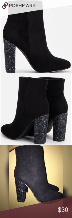 Booties w/sparkly heel JustFab suede booties w/sparkle heel. Never worn only on carpet. Heel 4 inches. Cute for going out or casual wear. NWOT. JustFab Shoes Ankle Boots & Booties