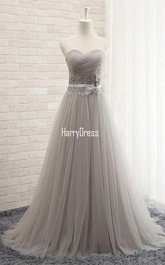 Gray Princess Sweetheart Tulle Sweep Train Sashes Ribbons Lace Up Prom Dress