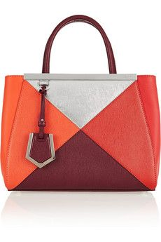 Fendi 2Jours small color-block textured-leather tote (=)