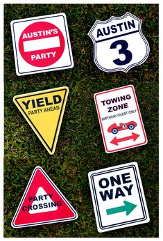 Vintage Race Car Party Signs Personalized set by prettypaperparty