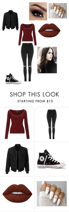 """""""Wattpad: mystery/stilinski clary"""" by macleecell on Polyvore featuring Miss Selfridge, Topshop, LE3NO, Converse and Lime Crime"""