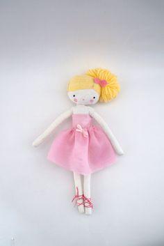 Custom order for Brooke Ballerina rag doll -size pocket plush toy cloth art doll ballerina in pink tutu dancer ballet ooak