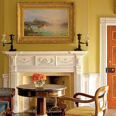 Yellow Ocher Painted Walls From Southern Accents Magazine: