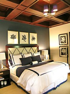 """Here's another bedroom I did using Benjamin Moores """"Hale Navy"""" on one wall."""