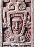 Pre-Columbian art Mexico - Pre-Columbian Toltec civilization. Stele representing the birth of Quetzalcoatl (feathered serpent) from Xochicalco - Painted stone - Detail Mexica