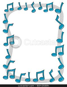 A border made up of blue music notes dancing on top of a curv , Music Border, Music Clipart, Boarders And Frames, Free Clipart Images, Music Illustration, Music Crafts, Page Borders, Clip Art, Borders For Paper