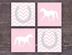 Horseshoes and Horses Set of Four Prints by PinkPonyPress on Etsy, $15.00