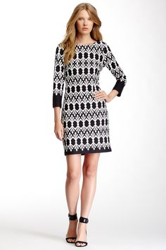 3/4 Sleeve Printed Dress by Taylor on @nordstrom_rack