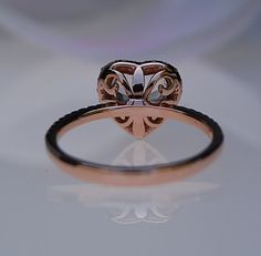 Rose gold engagement ring. Ice peach sapphire by EidelPrecious