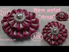 DIY/New Kanzashi Petal/Kanzashi Flower tutorial/Ribbon flower/MK/канзаши...