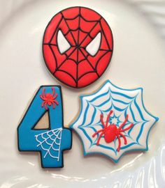 Spiderman head, spider web, and webbed number decorated birthday cookies by Sugar Cookie Creations. Spiderman Cookies, Superhero Cookies, Spiderman Theme, Spiderman Birthday Ideas, Fourth Birthday, Superhero Birthday Party, Birthday Fun, Buddha Birthday, Birthday Parties