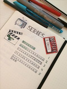 """Design of my """"series tracker"""" in my bullet journal"""