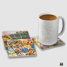 Set of ceramic Coasters with trencadís designs modernist