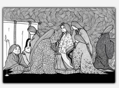 The tale of princess Kaguya - handmade illustration on poster door LaurenInkDots op Etsy