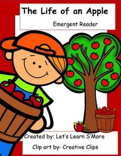 Emergent Reader: The Life of an Apple, 2 books, color and blkw cut and paste. On sale 20 percent off on July 6th!