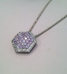 Vintage Sterling Silver Vintage Lavender Sapphire Pave Estate Jewelry Necklace by WOWTHATSBEAUTIFUL,