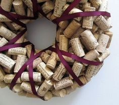 Wine Cork Wreath with Plum Ribbon - Wedding Christmas Year Round Eco Friendly Home Decor