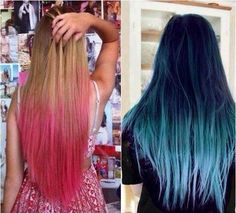 Colored ombre hair pink and turquoise ombre dip dye