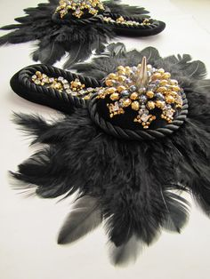Feather Epaulettes Reserved for derrickdjang by binkaminka on Etsy