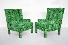 Faux-Malachite Wingback Lounge Chairs | From a unique collection of antique and modern lounge chairs at http://www.1stdibs.com/furniture/seating/lounge-chairs/