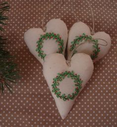 Christmas decoration, embroidered heart, heart decoration, Chirory decoration, textile heart, heart sewing, wreath