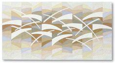 """Liz Kuny, contemporary quilt artist.  Airborne 17"""" x 31½"""" Cotton fabric. Machine pieced & machine appliquéd;  machine & hand quilted, 2011."""
