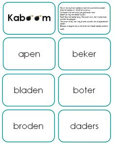 Kaboom, met de spellingswoorden van groep 5 Play Kaboom with the words that have a short sound and a long sound at the end of a sound group. Consistent with Language Active theme 4 of group Word To Your Mother, Busy Boxes, Spelling Words, Behavior Management, Primary School, Fun Learning, How To Know, Grammar, Circuit