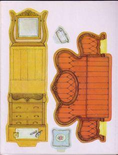 Dresser and sofa, cut & fold Paper Doll House, Paper Dolls Book, Paper Houses, Paper Toys, Paper Furniture, Barbie Furniture, Dollhouse Furniture, Vitrine Miniature, Miniature Dolls