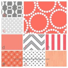 gray and coral nursery   Coral and Grey Babby Bedding, Custom. $230.00, via Etsy. Baby bedding ...